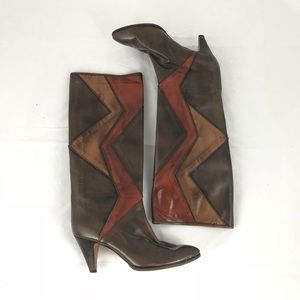 Abstract Italian Leather Boots